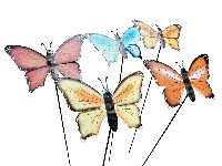 Schmetterling am Stab 5-farbig sortiert  Metall B25cm L:85cm  Gartenstecker