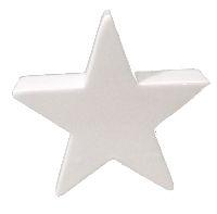 Stern Keramik / Dekostern 36534 WEISS-GLASIERT Porzellan L=8,5cm B=3cm H=8,5cm