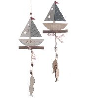 Girlande Maritim Time BLAU 64026 Holz 2er-Set Segelboot AHOI B11cm GL43cm