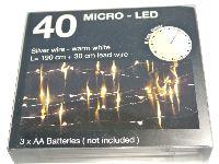 LED Lichterkette 990221 Drahtlichterkette Timer 40 LED 190cm warmweiß 3xAA Bat