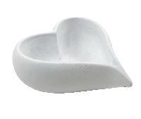 Herzschale WEISS  54320 17x18x6,5cm Zement