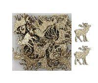 Hirsch Streusortiment gold-glitzernd beidseitig 4cm Holz  39177