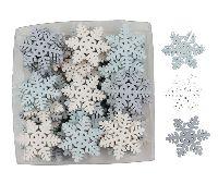 Schneeflocken-Streu Eiszeit eisblau-grau-weiss 4cm Holz 39105