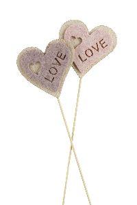Herzstecker LOVE rosa-altrosa 21762100 6cm GL:27cm Holz-Filz