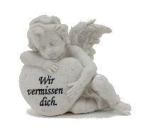 Engel mit Herz und Spruch WEISS 13463 Poly Wir vermissen dich 13x12x7,5cm